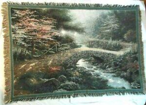 Thomas Kinkade Bridge of Faith Tapestry Fringe Throw Blanket