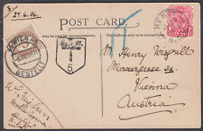 1906 Postage Due Postcard New South Wales, Australia to Austro-Hungary
