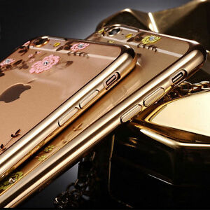 Luxury Fancy Diamond Flower Thin Clear TPU Back Case Cover Apple iPhone 5 6 6s