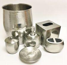 6 Piezas Redondo Metal Plateado Dispensador de Jabón + Plato + Trash + Bote +