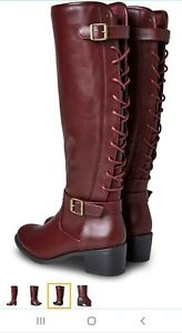 Ladies Brown Joe Browns Boots Size 5 knee high lace detail zip up