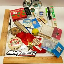 New listing Vintage & New Junk Drawer Lot Cigar Box Buttons Token Compact Harmonica More D-2