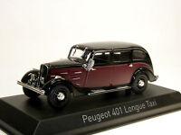 Norev 474104 - 1935 Peugeot 401 Longue - TAXI - dunkelrot/schwarz - 1:43