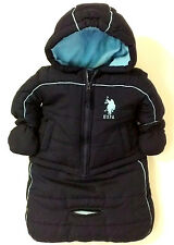 U.S. POLO ASSN RN 59123 2-pc Infant Boy Hooded Puffer Coat/Bunting Carbag 0-9 MO