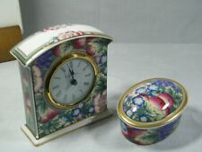 """A Wedgwood/Royal Doulton """" Orchard Hill """" Mantle Clock & Oval Trinket Box, !!!!."""