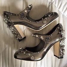 Dolce & Gabbana RUNWAY FW/2016 Mary Jane Silver Stud Crystal Flower Heels Sz 37
