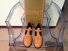 Damen Golden Tan Esprit Mary Jane T-Träger mit Ösen Absatz Größe 8
