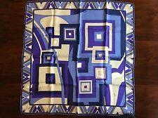 "Emilio PUCCI Blue Purple White Silk 22"" x 22"" Abstract Print Scarf Made in Italy"