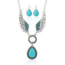 Women Vintage Wings Chain Crystal Pendant Statement Bib Necklace Set Earrings