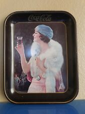 Coca Cola Flapper Girl 1973 Reproduction Metal Tray of 1925 Advertisement
