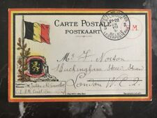 1917 Belgium Military Postal Stationary  Postcard Cover To London England B