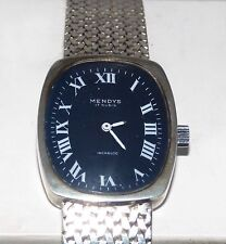 Superb Swiss 800 Solid Silver Mendys 17 Jewel Wrist Watch Mesh Strap Blue Dial
