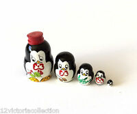 PENGUIN  Russian Hand Carved Hand Painted miniature Nesting DOLL animal
