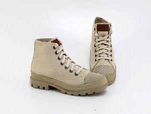 Stiefeletten Leinen-Boots Trachten-Wiesnschuhe Textil natur Gr. 39