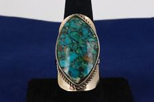 LARGE TURQUOISE COLOR STONES RING SIZE ADJUSTABLE FASHION 7099B
