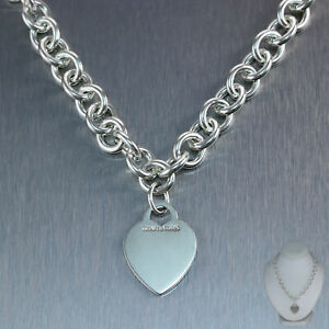 """Tiffany & Co. Sterling Silver Heart Tag 16"""" Necklace"""