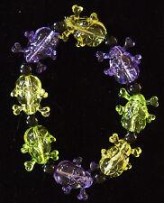 Skulls Purple Green Gold Clear Mardi Gras Bracelet New Orleans Carnival Bayou