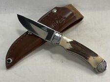 Gerber Usa Genuine Stag Small Hunting Knife Mint In Sheath
