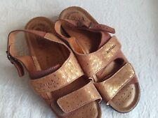 Fly Flot copper metallic sandals womens size 38 7.5 shoes straps Italian wedges