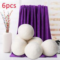 6cm 6Pcs Natural Reusable Laundry Clean Pactical Home Wool Tumble Dryer Balls UK