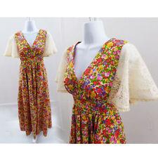 Vintage 60s Dress Size M Floral lace Hippie Boho Prairie Bridesmaid festival 70s
