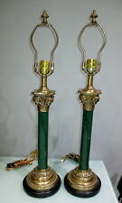 PAIR FREDERICK COOPER CLASSIC HOLLYWOOD REGENCY DK GREEN COLUMN CENTER LAMPS