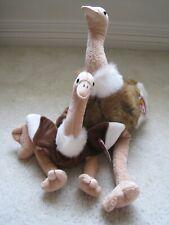 Lot Of 3 ~ Ty Beanie Baby, Buddy Stretch and Teenie Stretchy The Ostrich ~ New