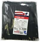 """500 Black 7"""" Inch Nylon Cable Wire Wrap Zip Ties 50 LBS UV Resistant - USA"""