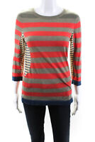 Marc By Marc Jacobs Womens Striped Crew Neck Knit Top Orange Green Size XS