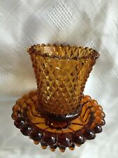 Amber Diamond Peg Votive Cup Candle Holder With Base Homco Home Interior