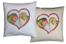 More details for adorable lovebird pet bird themed cotton cushion cover in either cream or white