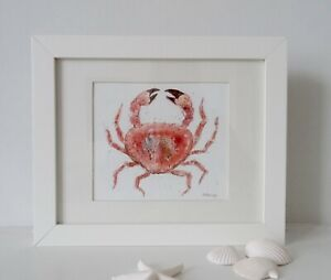 Crab Painting, original Watercolour in an off white frame (30 cm x 24.5 cm)