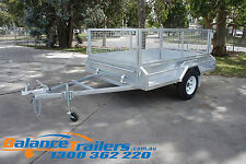 8x5 GALVANISED HEAVY DUTY BOX TRAILER WITH 600mm CAGE & BRAKE ATM1400KG