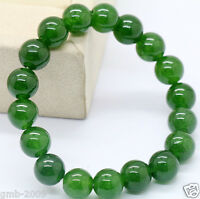 New Handmade 10mm Green Emerald Round Gemstone Beads Stretchy Bangle Bracelet