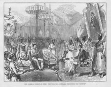 INDIA Nizam of Hyderabad Presenting his Nuzzur at the Durbar Antique Print 1877