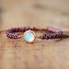 Natural Gemstone Amethyst Beaded Opal Stacking Bracelet Stacks Friendship