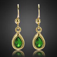 Neu Damen Geschenk Zirkonia 18K Gold Vergoldet Gruen Smaragd Birne Ohrringe