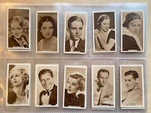 Original 1933 United Kingdom Tobacco Co cigarette cards (A2) Cinema Stars, Set 4
