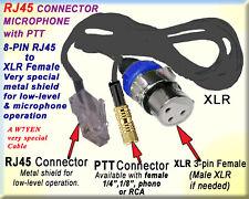 "YAESU KENWOOD ICOM OR ""?"" CABLE RJ45, RJ12 MICROPHONE MIC & PTT & XLR FEMALE (M)"