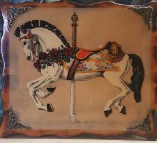 "Wood Carousel Horse Wall Art Decor Hanging Scalloped Edges 16"" x 14"""