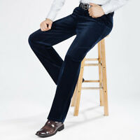 Men Corduroy Cord Trousers Stretch Straight Pants Casual High Waist Retro Big Sz