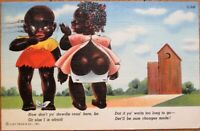 Black Children & Outhouse 1951 Linen Postcard - Mobile, Alabama AL
