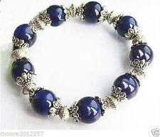 Beautiful handmade the Tibet Silver dark blue Lapis Lazuli Bracelet