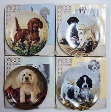 Lot of 4 Plates - Field Puppies Collection by Lynn Kaatz - Box Brochure & Coas