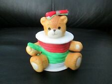 Rare Lucy & Me Christmas Gift Wrap Spool of Ribbon Teddy Bear Figurine Porcelain