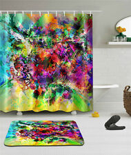 "Abstract Bathroom Mat Waterproof Polyester Fabric Shower Curtain 12 Hook 72"" 96"