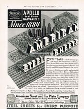 1934 American Sheet and Tin Plate Co. Apollo Galvanized Steel Vtg Print Ad