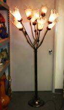 ART DECO STYLE  WROUGHT IRON FLOOR LAMP 11 PURPLE GLASS TULIP SHADES