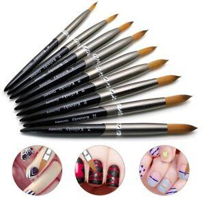 Hot 1PC Kolinsky Sable Acrylic Nail Art Brush Crimped Manicure Tool Size #12-#24