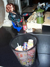 Black Wire Trash Can Metal Prop - For Hot Toys - 1/6 Scale Furniture